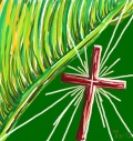 Cross and palm leaves, painting by Taruna